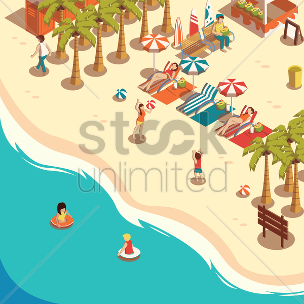 people enjoying at beach vector graphic