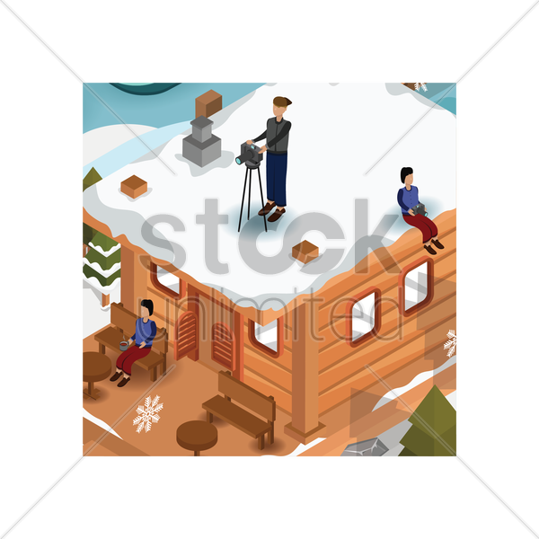 people enjoying holiday at snow cottage vector graphic