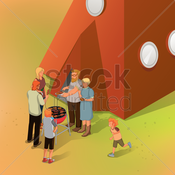 people enjoying picnic vector graphic