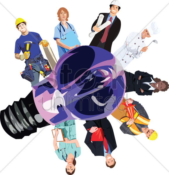 people from various professions around a lightbulb vector graphic