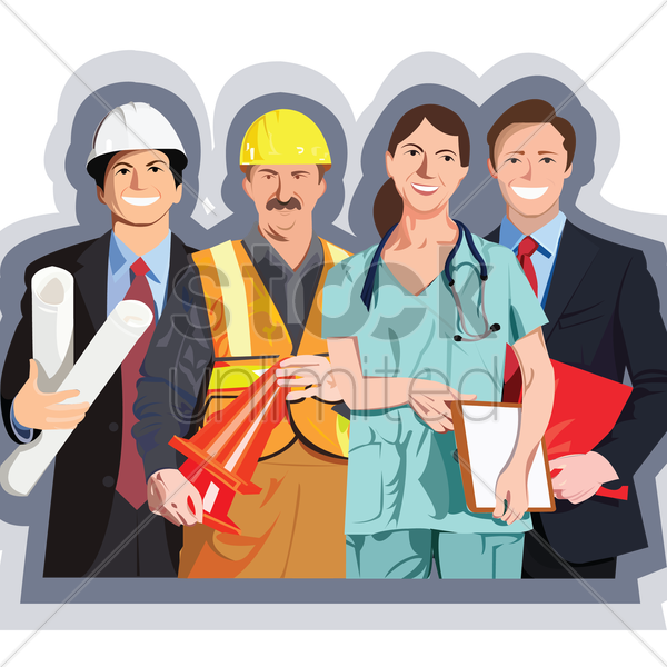 people from various professions vector graphic