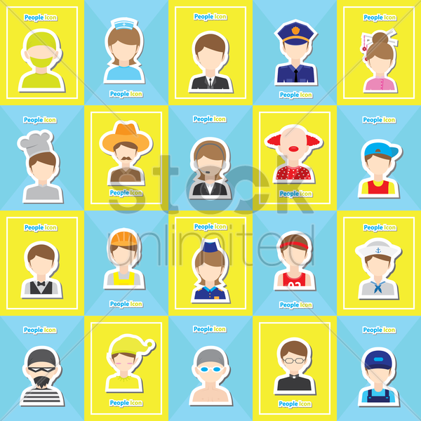 people icon set vector graphic
