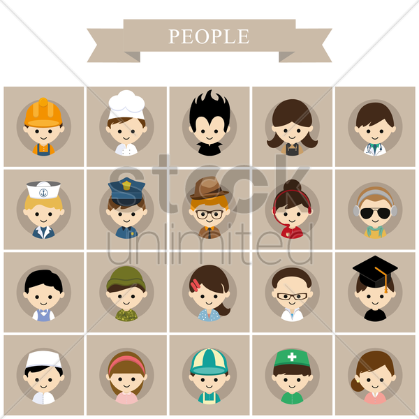 people icons vector graphic