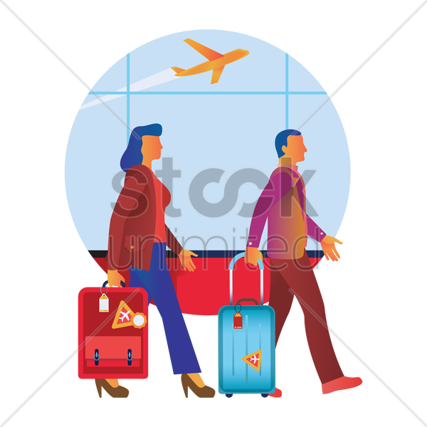 people in an airport vector graphic