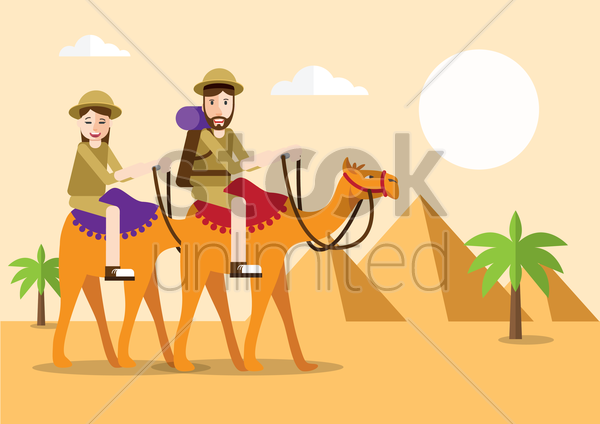 people riding camel in desert vector graphic