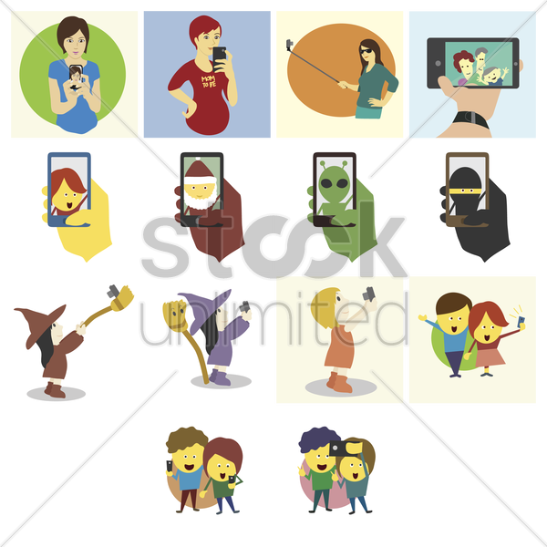 people taking selfies vector graphic