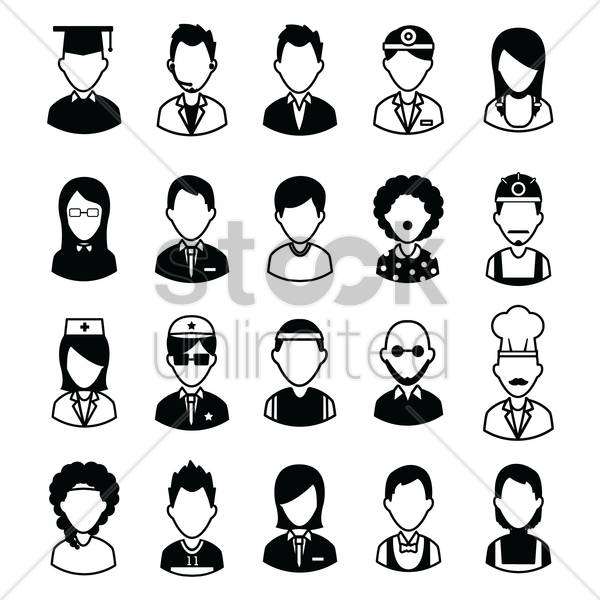 people with different professions vector graphic