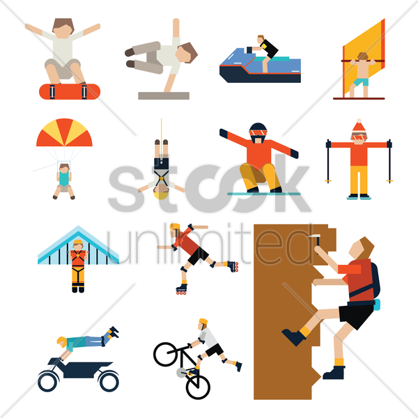 people with different sport activities vector graphic