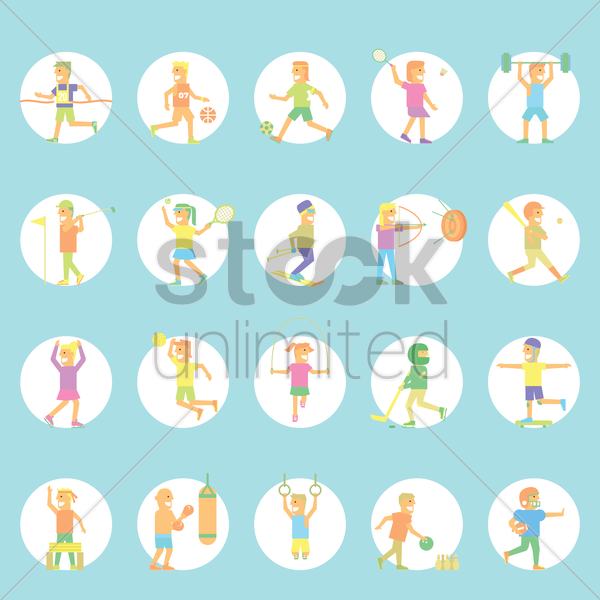 people with different sports vector graphic