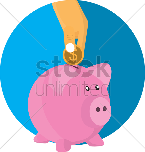 person putting a coin in piggy bank vector graphic