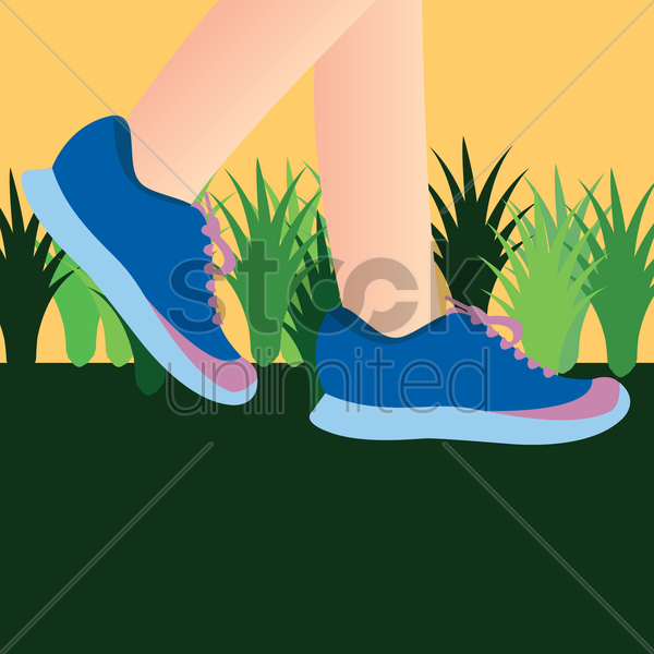 person wearing blue sneaker shoes vector graphic