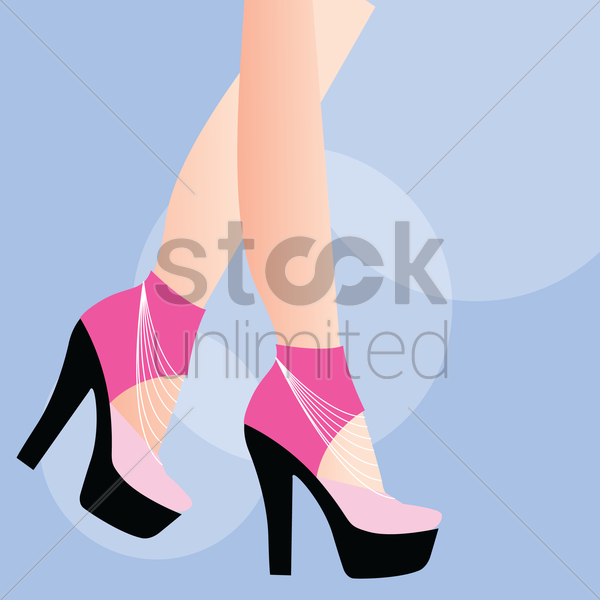 person wearing high heels on blue background vector graphic