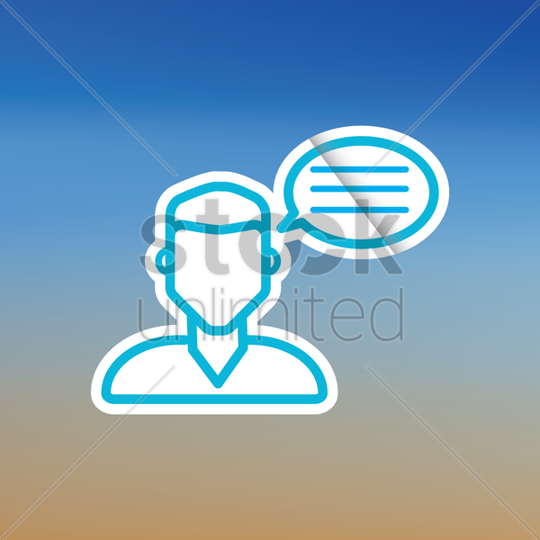 person with speech bubble vector graphic