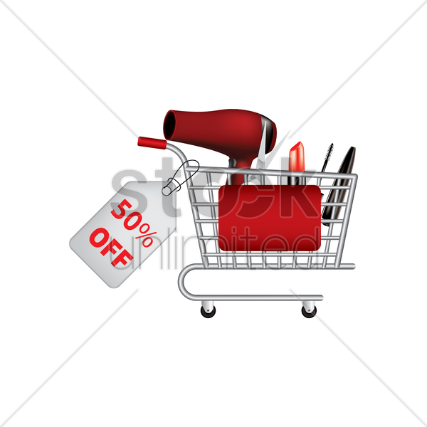 personal grooming equipment promotion in a shopping cart vector graphic