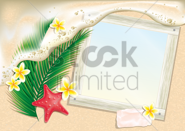 photo frame on beach vector graphic
