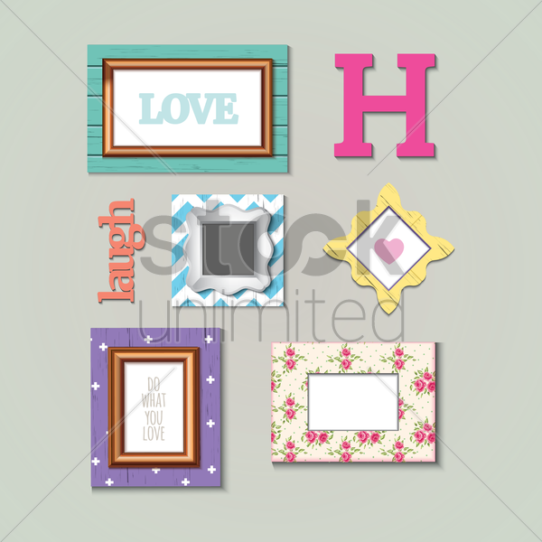 photo frames set vector graphic