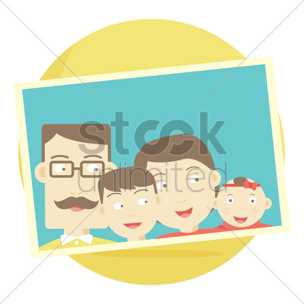photograph of a family with their son and baby daughter vector graphic