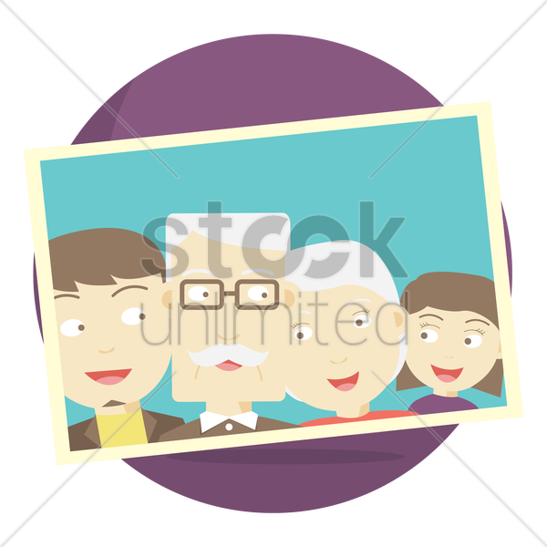 photograph of a senior couple their with children vector graphic