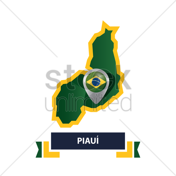 piaui map with map pointer vector graphic