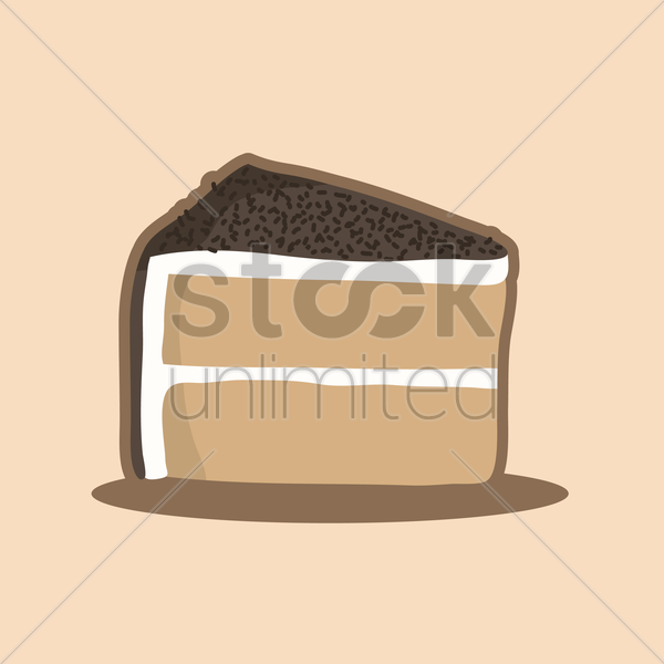 piece of chocolate cake vector graphic