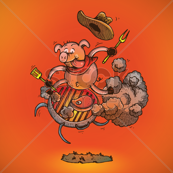 pig riding on a barbecue grill vector graphic