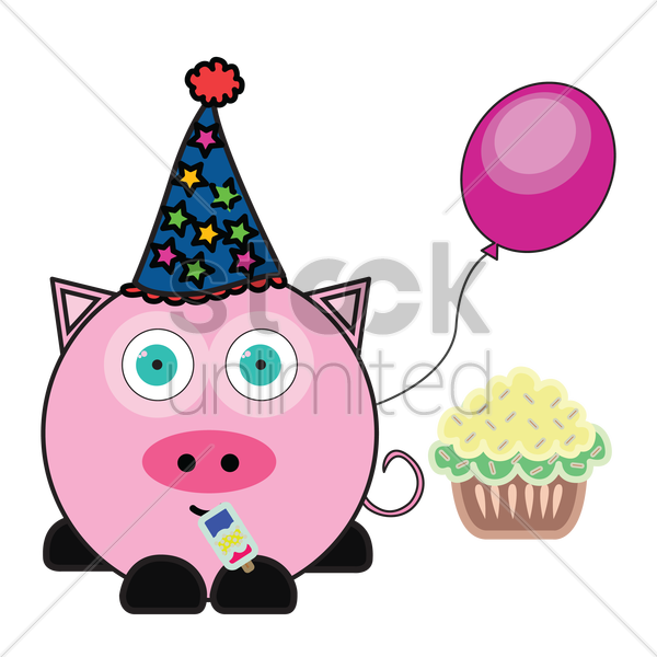 pig with party hat, balloon and cupcake vector graphic