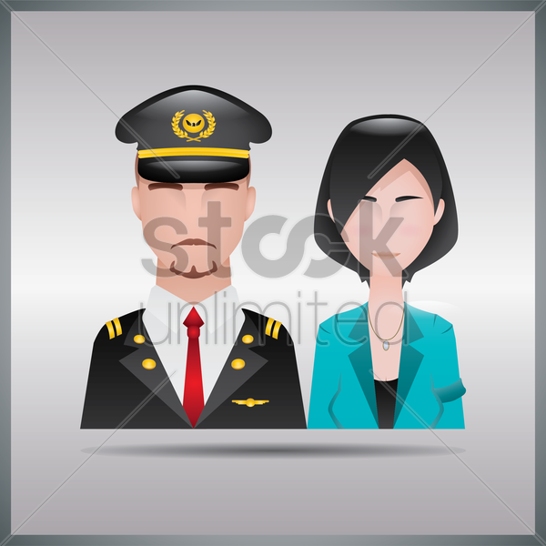 pilot and stewardess vector graphic