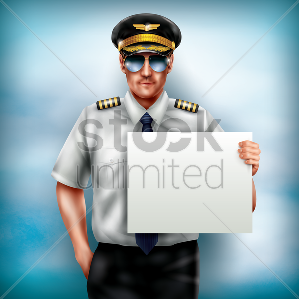 pilot holding placard vector graphic