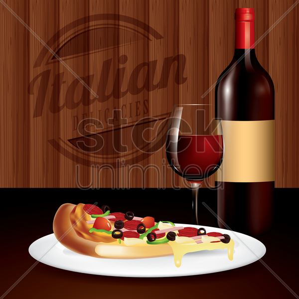 pizza and wine served vector graphic
