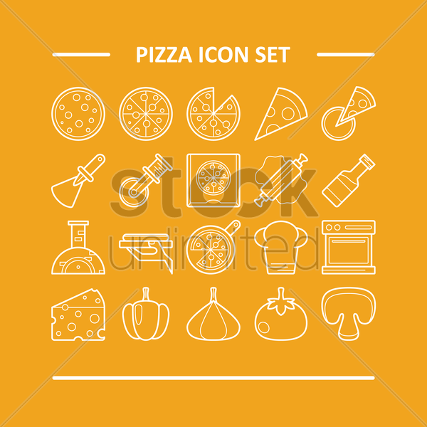 pizza icon set vector graphic