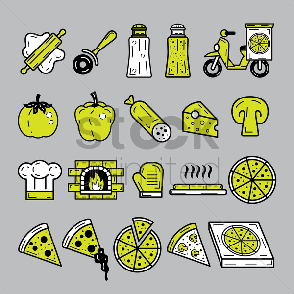 pizza icons vector graphic