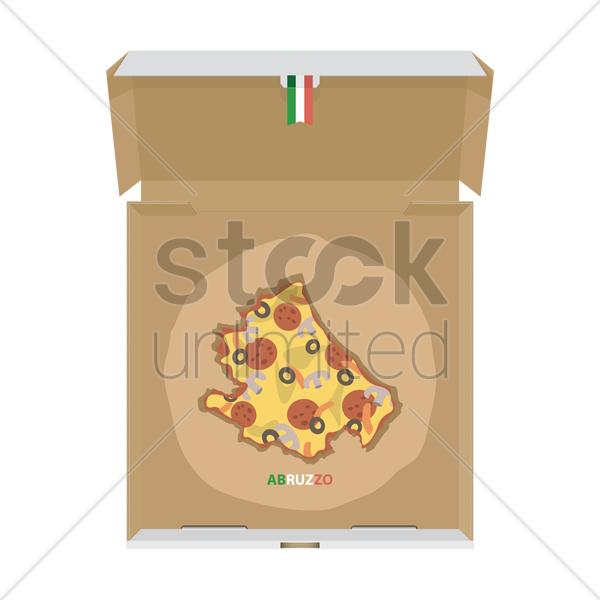 pizza in shape of abruzzo map vector graphic