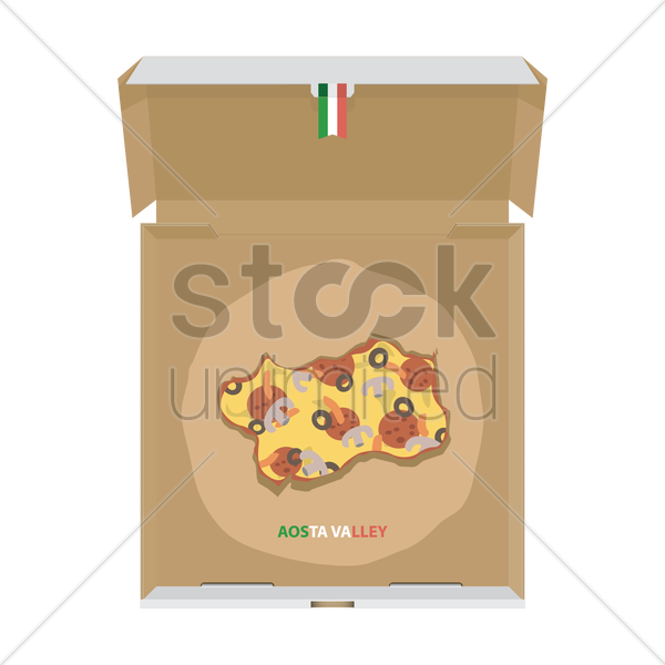 pizza in shape of aosta valley map vector graphic