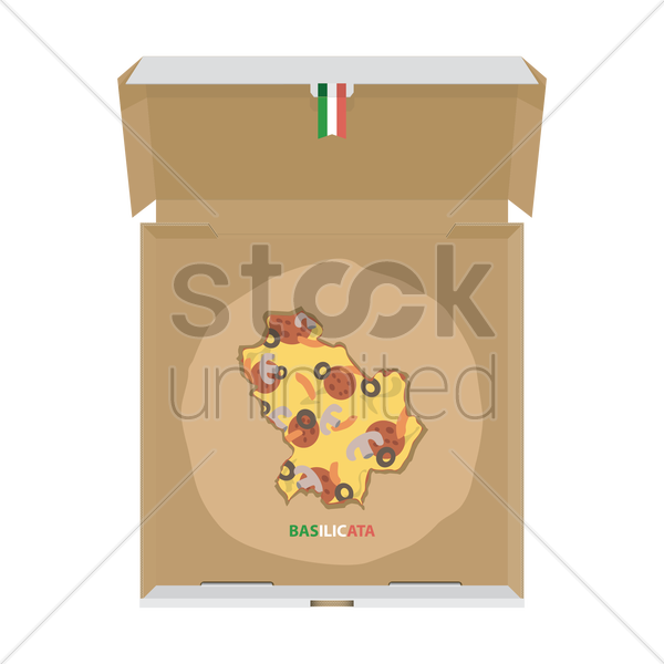pizza in shape of basilicata map vector graphic