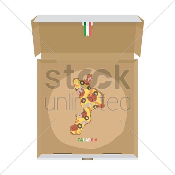 pizza in shape of calabria map vector graphic