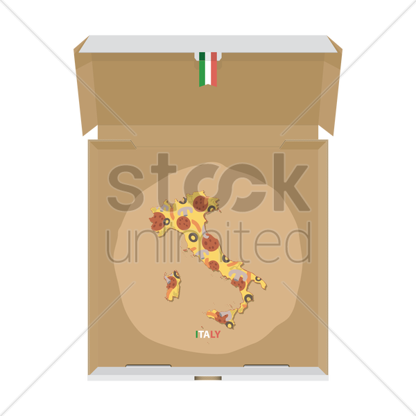 pizza in shape of italy map vector graphic