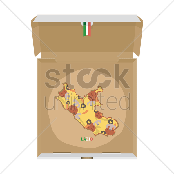 pizza in shape of lazio map vector graphic