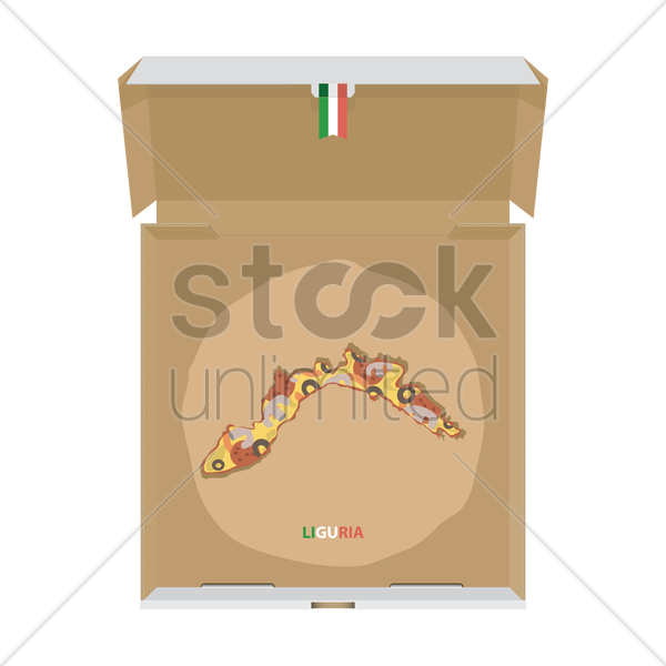 pizza in shape of liguria map vector graphic