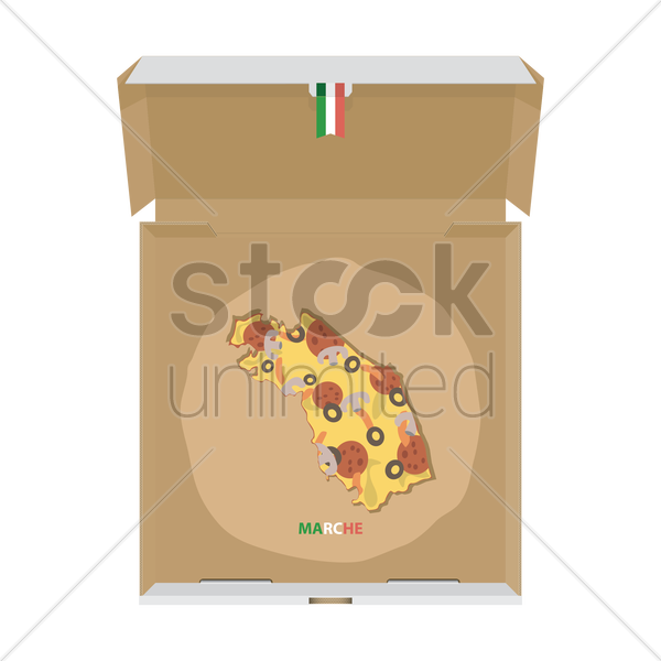 pizza in shape of marche map vector graphic