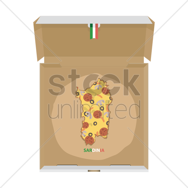 pizza in shape of sardinia map vector graphic