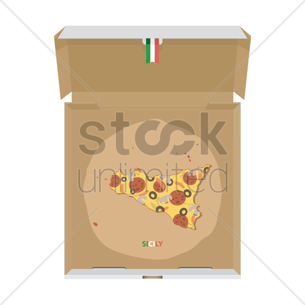 pizza in shape of sicily map vector graphic
