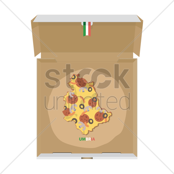 pizza in shape of umbria map vector graphic