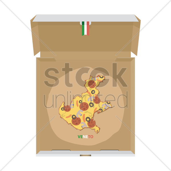 pizza in shape of veneto map vector graphic
