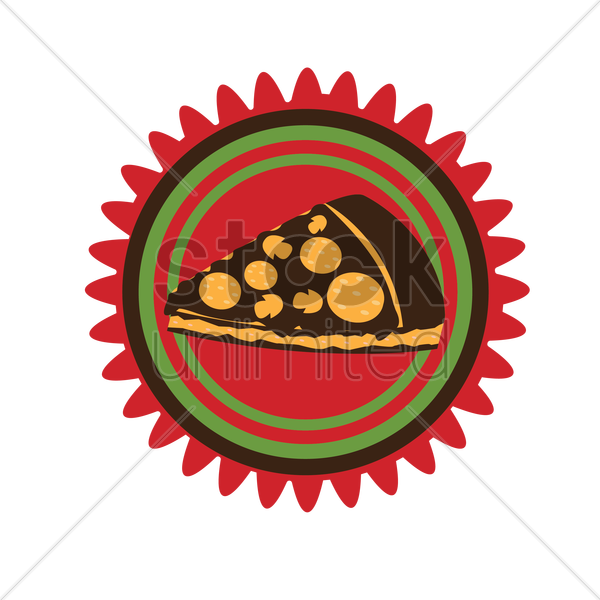 pizza label vector graphic