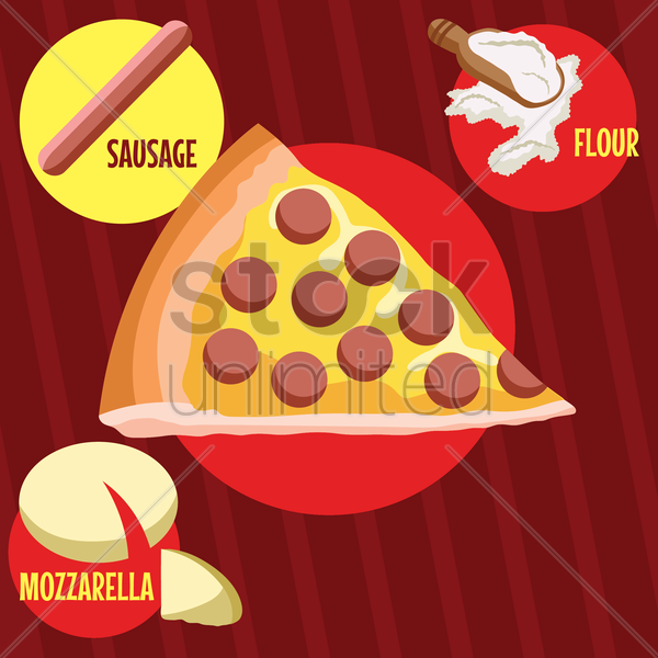 pizza slice with ingredients vector graphic