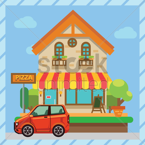 pizza store wallpaper vector graphic