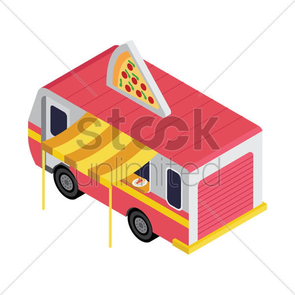pizza truck vector graphic