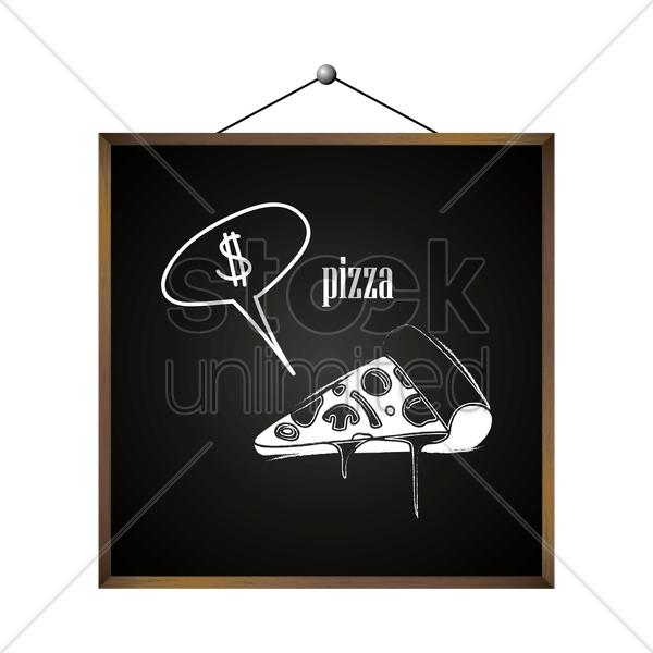 pizza with dollar sign in speech bubble vector graphic