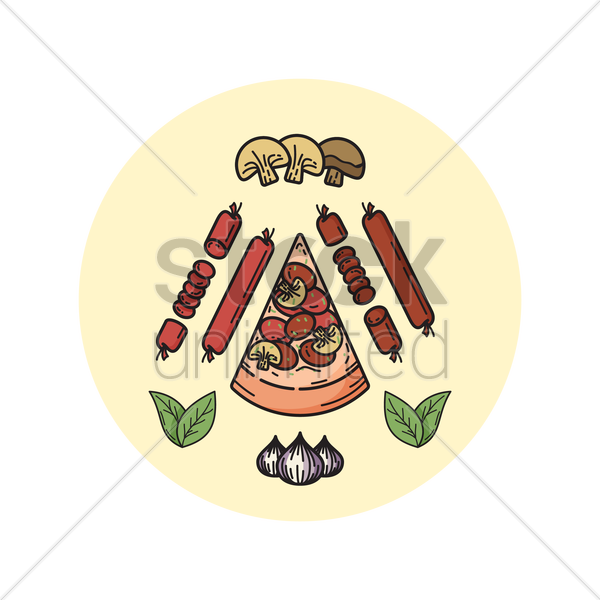 pizza with ingredients vector graphic