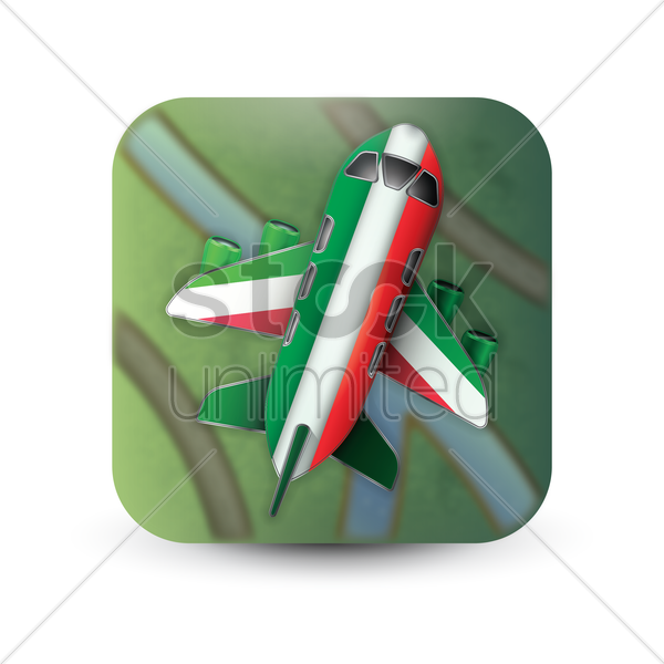 plane with italy flag decoration vector graphic
